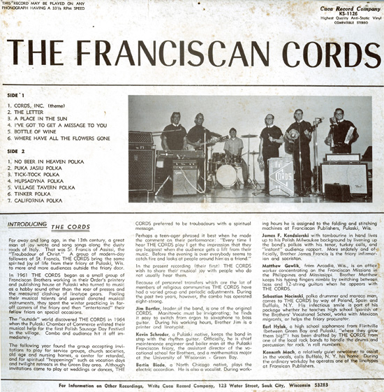 Franciscan Cords LP back cover