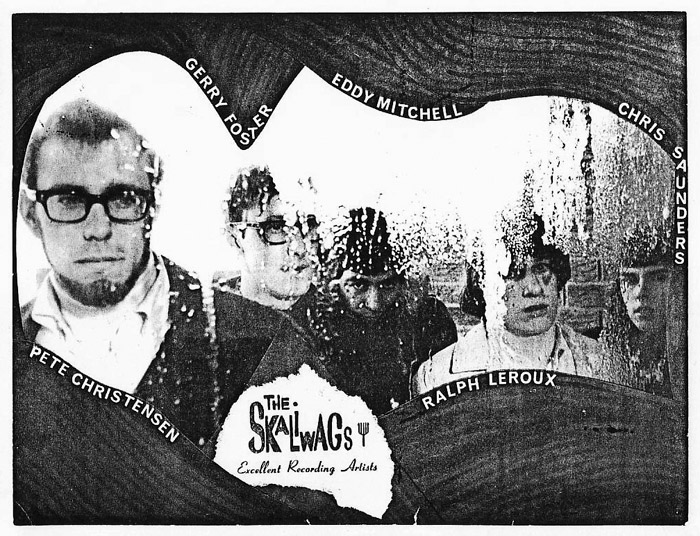 The reformed version of the Skaliwags, from left: Pete Christensen, Gerry Foster, Eddy Mitchell, Ralph Leroux and Chris Saunders