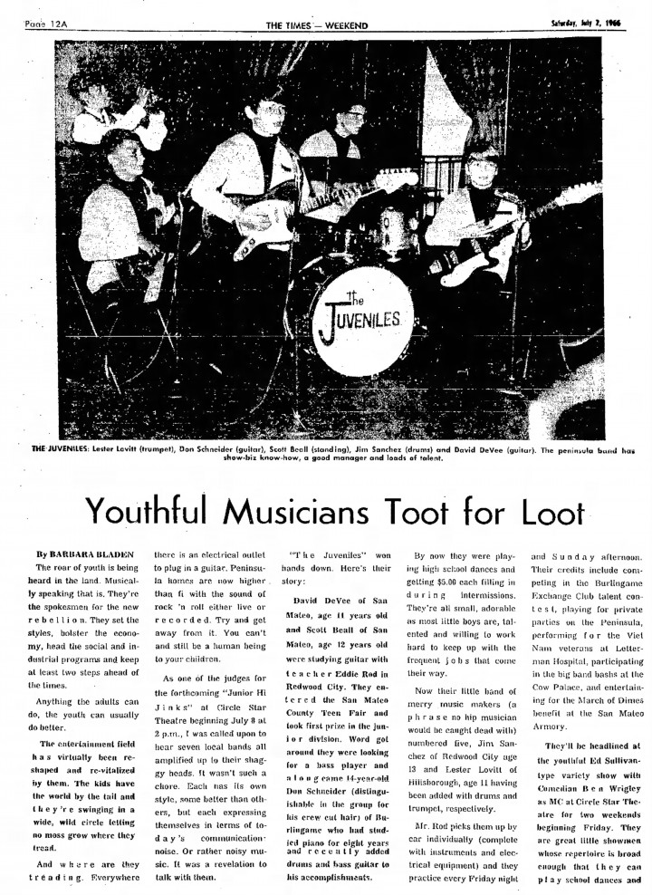 The Juveniles, San Mateo Times, July 2, 1966