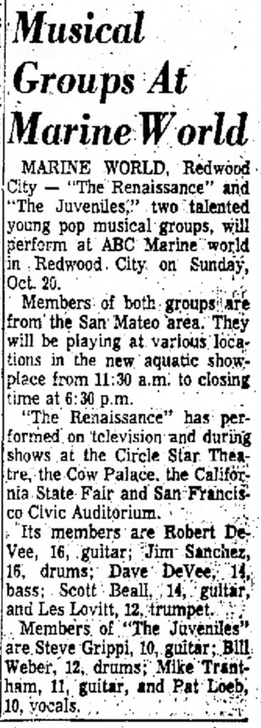 The Juveniles and the Renaissance in the San Mateo Times Oct. 18, 1968