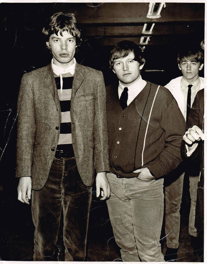 Robin McMillan and Ron Canning of the 5 Rising Sons with Mick Jagger