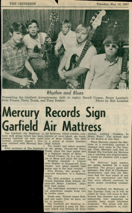 Garfield Air Mattress, the Criterion, May 16, 1967