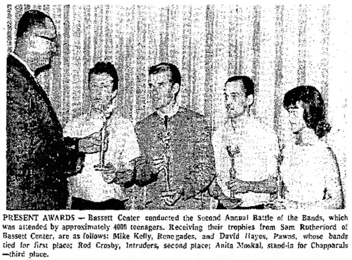 Mike Kelly of the Renegades, David Hayes of the Pawns, Rod Crosby of the Intruders and Anita Moskal for the Chapparals receiving trophies for the Bassett Center 2nd Annual Battle of the Bands, August 1964