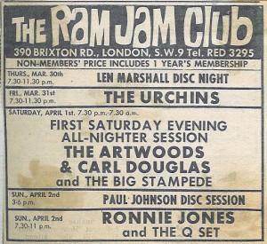 Ram Jam Club advert Artwoods
