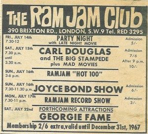 Ram Jam Club advert 1967 Georgie Fame