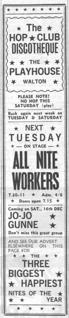 All Nite Workers & Jo-Jo Gunne at the Hop Club Discotheque, the Herald & News, Dec. 8, 1967