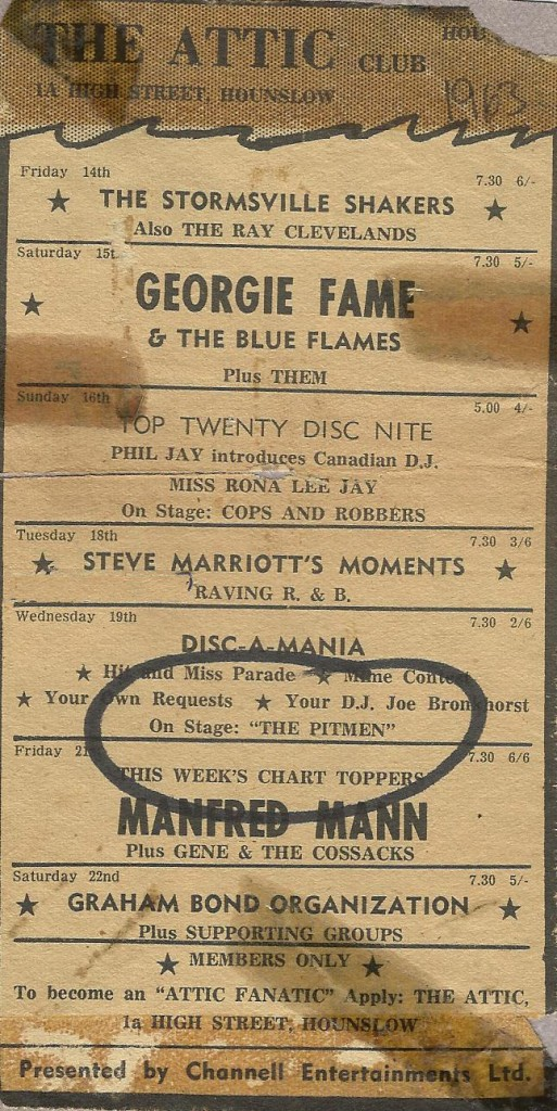 Attic Club Listings 1963