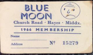 Blue Moon Club Membership card 1966,, Church Road, Hayes, Middlesex