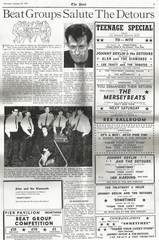Johnny Devlin & the Detours, The Post, January 25, 1964