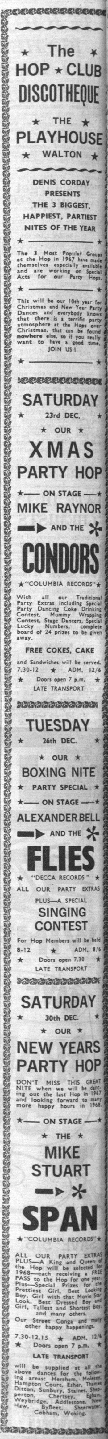 Mike Stuart Span, The Flies, The Condors, Eddie Floyd, Woking Herald & News Dec 8., 1967