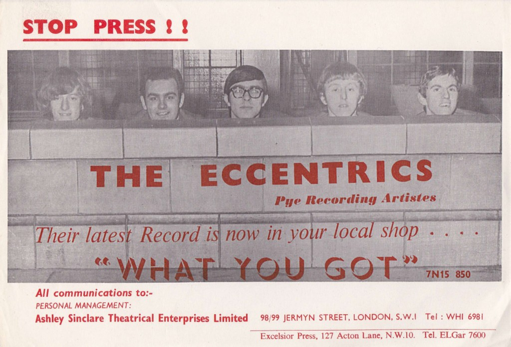 "Rockin' Eccentrics Pye promo for ""What You Got"""