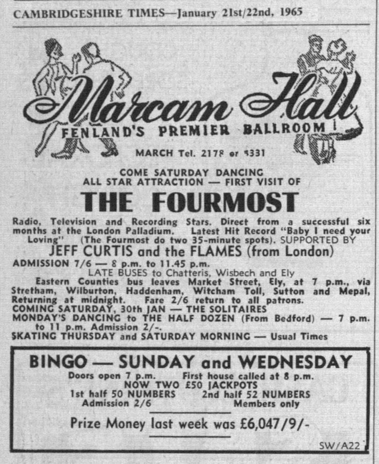 The Fourmost with Jeff Curtis & the Flames at Marcam Hall, Fenland, from the Cambridgeshire Times, January 2, 1965