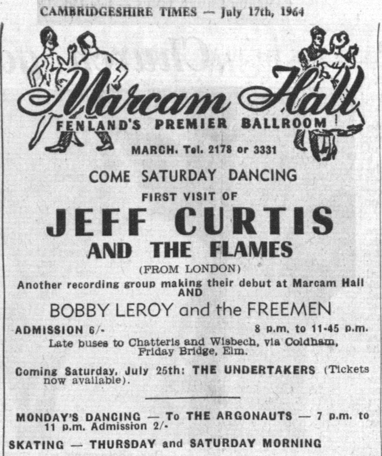 Jeff Curtis & the Flames, the Undertakers, at Marcam Hall, Fenland, from the Cambridgeshire Times, July 17, 1964