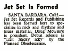 Jet Set announced in Billboard, Sept. 16, 1967