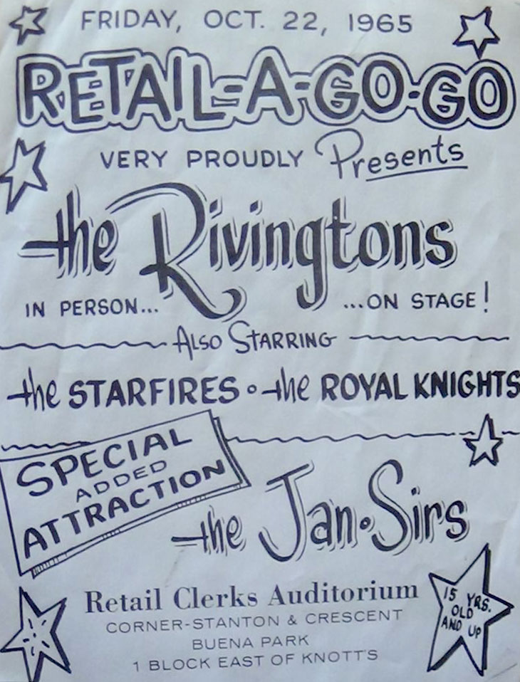 Rivingtons, Starfires, Royal Knights and Jan-Sirs at Retail Clerks Auditorium 1965 Oct 22