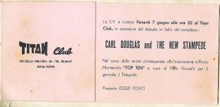 Carl Douglas & the Big Stampede, Titan Club Rome, June 1968