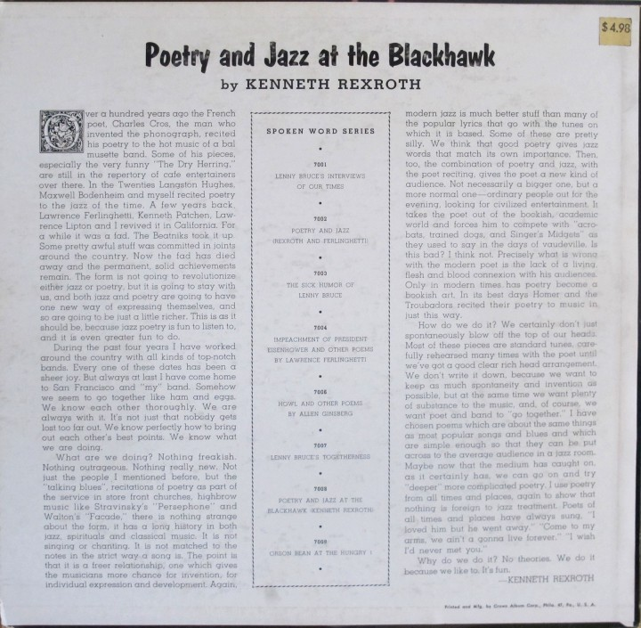 Kenneth Rexroth, Fantasy LP 7008, Poetry and Jazz at the Black Hawk - back cover