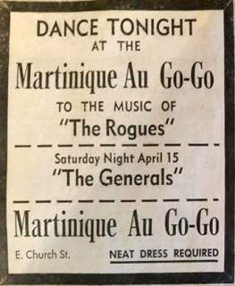 The Rogues and the Generals at Martinique Au Go-Go, Church St.