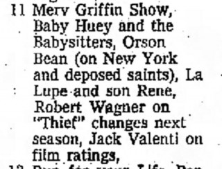 Baby Huey & the Babysitters on Merv Griffin, Independent Press-Telegram, June 8, 1969
