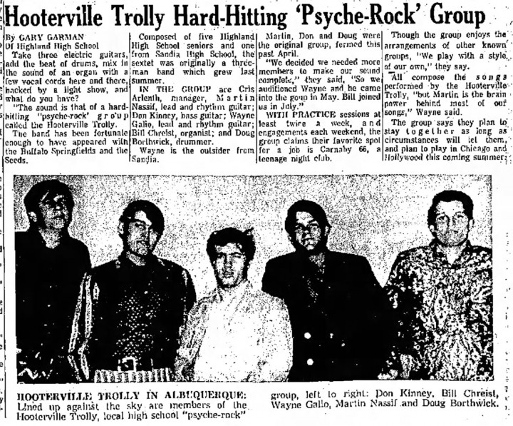 Hooterville Trolley in the Albuquerque Journal, December 4, 1967