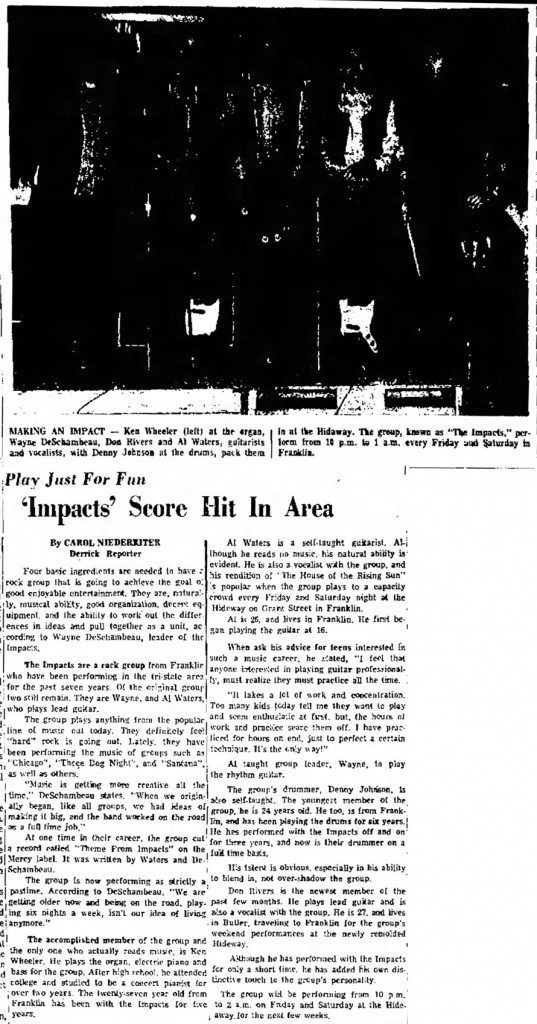 The Impacts, April 17, 1971