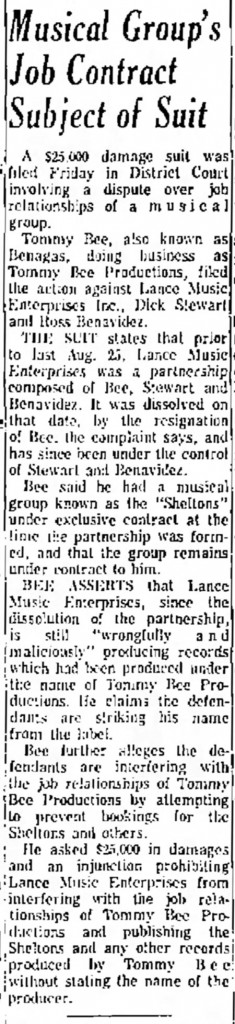 Tommy Bee Lance Albuquerque Journal, January 20, 1968