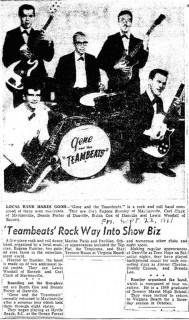 Gene & the Team Beats, Martinsville Bulletin September 22, 1961