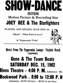 Gene & the Team Beats with Joey Dee & the Starlighters December 15, 1962