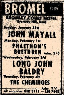 John Mayall, Phaethon's Brethren, Long John Baldry, Cheminoes,  Bromley Court Hotel