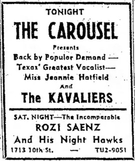 Kavaliers and Jeannie Hatfield at the Carousel Friday, September 9, 1966