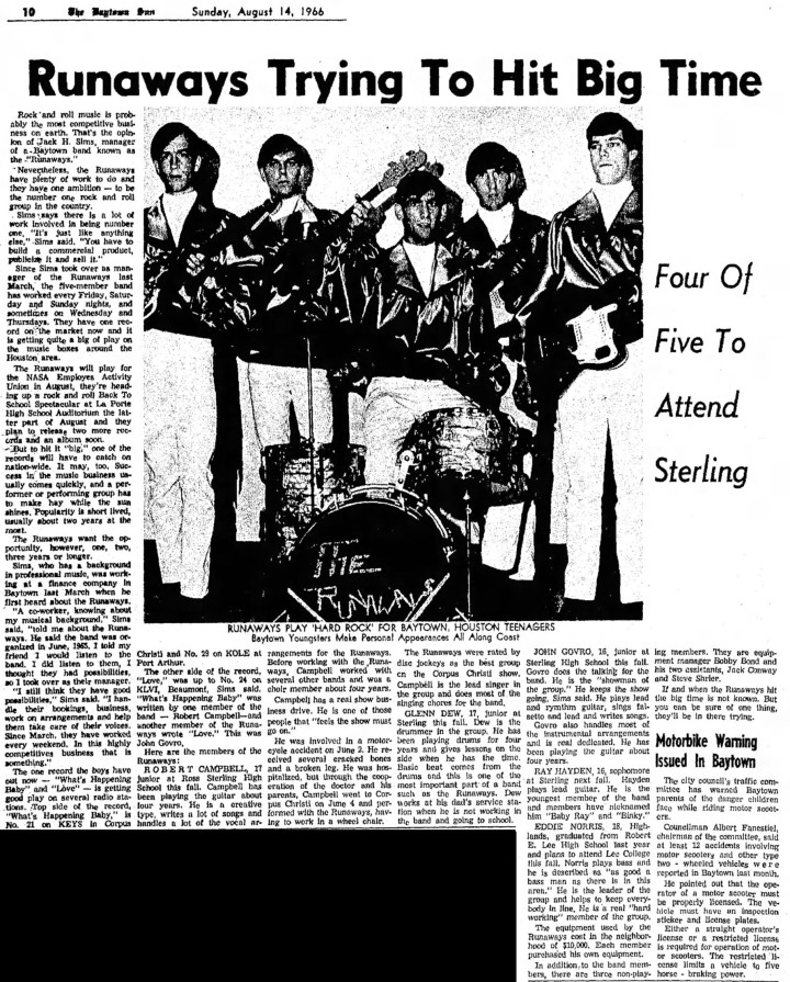 The Runaways Baytown TX, August 1966