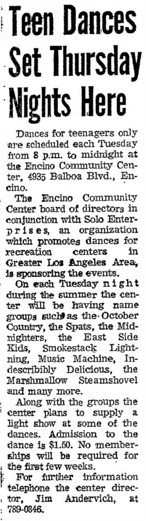 East Side Kids Music Machine Spats Marshmellow Steamshovel, Smokestack Lightning, Midniters, October Country, Valley News, July 12, 1968