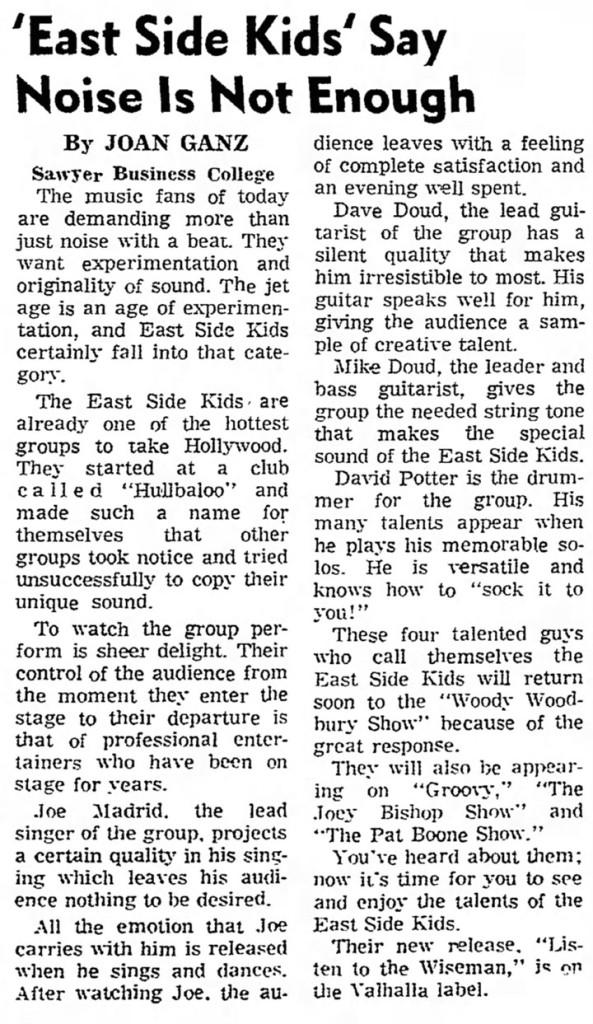 East Side Kids, Van Nuys News, January 5, 1968