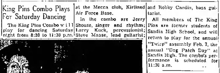 King Pins Albuquerque Journal Jan. 31, 1964
