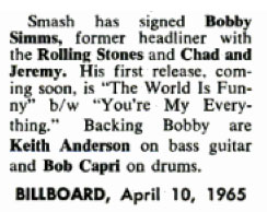 Bobby Simms Billboard 1965 April 10