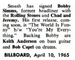 Bobby Simms Billboard 1965 April 10