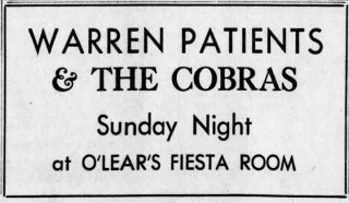 Warren Patients and the Cobras playing in Hazleton, PA, Feb. 25, 1967