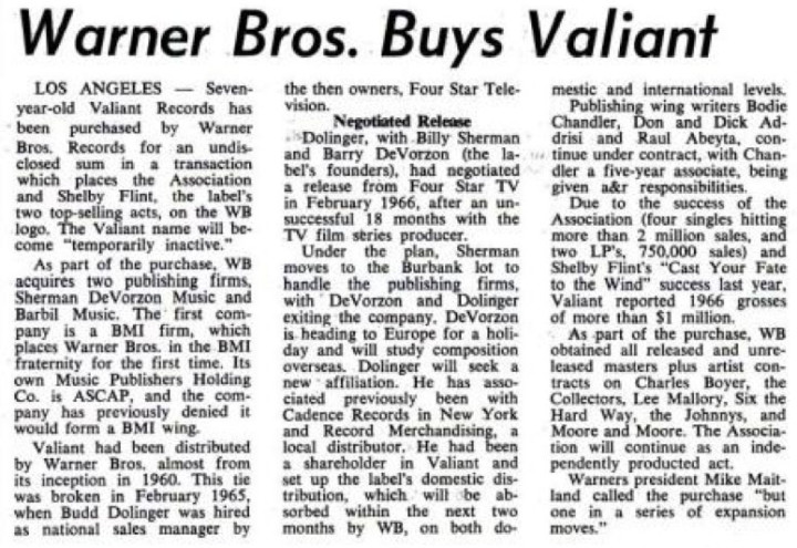 Warner Bros Buys Valiant, Billboard April 22, 1967