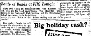 Battle of the Bands with the Collections, Assassins, Coachmen, Nameless, Elements of Sound, Roulettes, Wonders, Disinherited Sunns, Portsmouth Herald, December, 1967