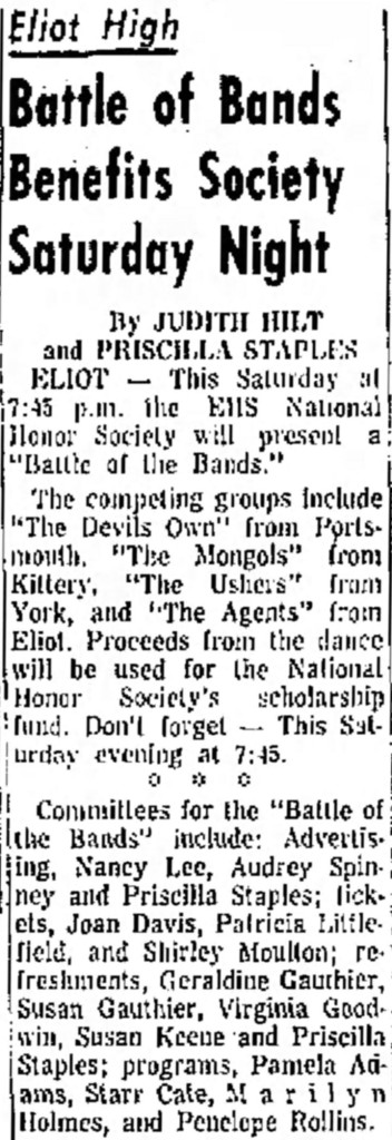 Battle of the Bands with the Devil's Own, the Mongols, the Ushers, the Agents, Portsmouth Herald, Tues. Jan. 18, 1966