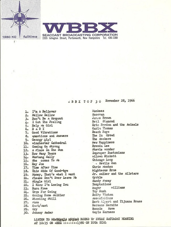 Devil's Own Hey Joe at 16 on WBBX, 1966-11-28