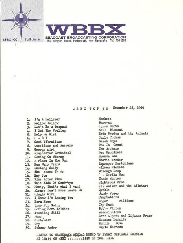 Devil's Own Hey Joe at 16 on WBBX, 1966-11-28