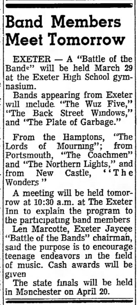 Exeter Battle of Bands Wuz Five, Back Street Windows, Plate of Garbage, Lords of Mourning, Coachmen, Northern Lights, Wonders, March 1968