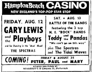 Spectras opening for the Tidal Waves, Teddy & the Pandas, Gary Lewis & the Playboys, August 10, 1966