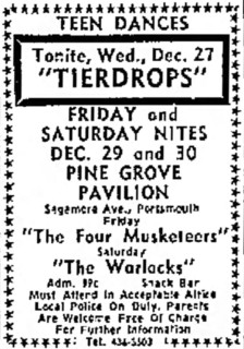 Pine Grove Pavilion shows with the Tierdrops, Four Musketeers, Warlocks, December, 1967