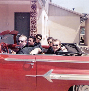 with keyboardist Toney Thompson's 1959 Chevy at a motel in Bossier City, LA