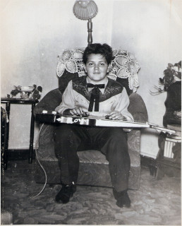Roy Rogers, age 12 with custom lap steel guitar