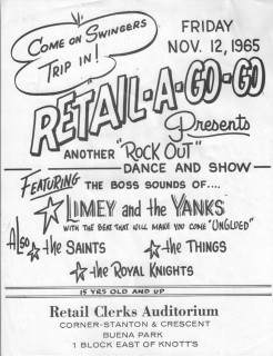 The Royal Knights on the bill with Limey and the Yanks, the Saints, and the Things at Retail Clerks Auditorium, Nov. 12, 1965
