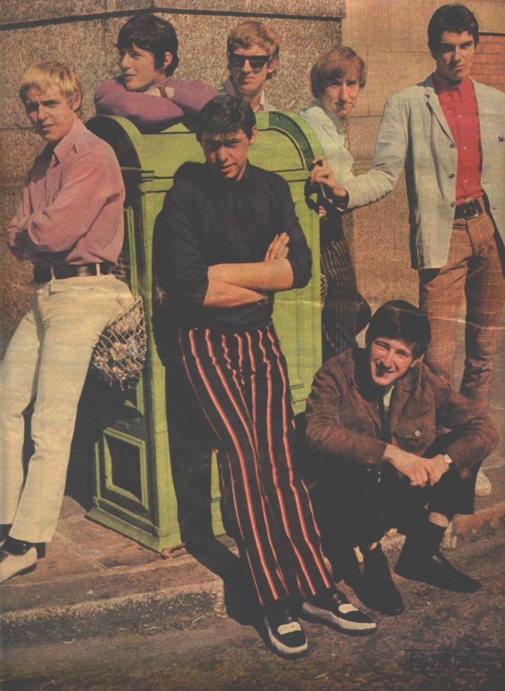 Clockwise from front: Ron Thomas, Mick Fletcher, Gary Laub, Tony Sinclair, Mel Wayne, Dave Mahoney and Phil Wainman