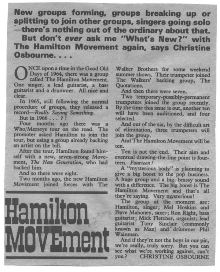 Hamilton and The Movement Fab November 1966